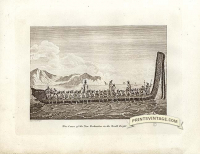War canoe of the New Zealanders in the South Pacific Ocean