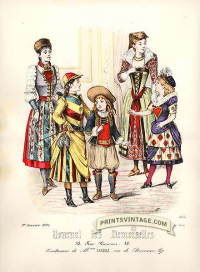 Costumes of French children - Double sized print. Faint foxing